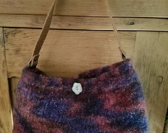 Handknit Wool Felted Handbag, Purse