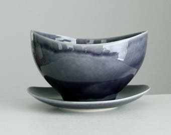 Ceramic Planter Blue Grey with Drain Hole and Catch Plate, Succulent Planter Modern