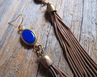 Cobalt Blue Charm and Tassel Earrings, Long Tassel Earrings, Charm and Tassel Earrings, Long Statement Dangles,