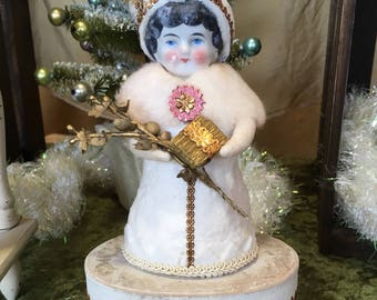 Old World Spun Cotton Snow Girl Keepsake Box with Vintage German China Head Victorian Inspired Christmas Folk Art