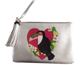 Silver Toucan Customised Clutch Bag