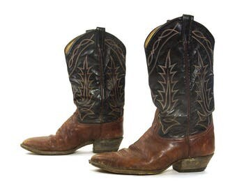 Tony Lama Brown Leather Cowboy Boots / Vintage Tall Two Tone Western Boots with Stitching / Tapered Heel / Leather Soles / Women's Size 11