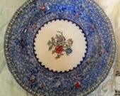Beautiful vintage/antique Spode dinner/serving plate, blue with white center, floral pattern, very pretty, great condition