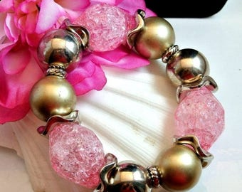 July 4th Sale Chunky Pink And Silver Tone Bead Bangle Bracelet Pink Faceted Translucent Lucite Beads Silver Tone Beads Stretch Bangle