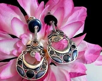 Valentines Sale Black|and|Silver Tribal Dangle Earrings Ethnic Tribal Earrings Vintage Silver Earrings Black Onyx Earrings