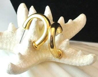 Valentines Sale 1970 Gold Tone Hoop Earrings, Gold Tone Vintage Earrings, Half Hoop Earrings