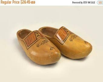 Large Wooden Shoes, Vintage Carved Handpainted Mens Wood Clogs, Dutch Home Decor, Holland Souvenir