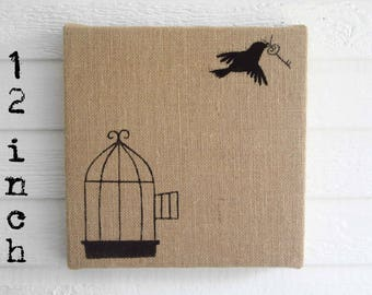 Free to Fly -  Burlap over Cork Message Board 12 inch - Pin Board, Memo Board, Bulletin Board - Birdcage Design with Skeleton key and Bird