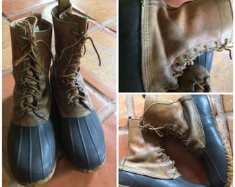 Men's LL Bean Boots Duck Hunting Rubber & Leather Maine Vintage Maine USA 10
