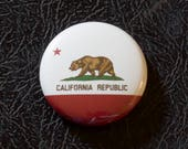 "1"" California flag button, state, pin, badge, pinback"