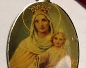 Flash Sale Huge Vintage Metal Virgin Mother Mary Our Lady With Crown Oval Picture Bubble Religious Medal Pendant 1 and 5/8 Inches