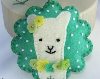 Embroidered Wool Felt Llama Ornament