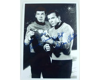 1966 DESILU  Star Trek Kirk Spock replica press photo mailed out  by NBC TV  to fans all over the universe . . . only one with signatures