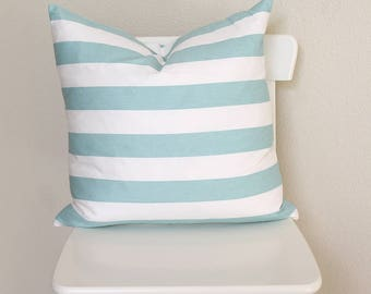 """Couch throw pillow Cover, Invisible zipper closure, Aqua Stripe, Teal. 18"""" square, Home decor, cushion, twill fabric front and back"""