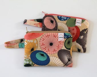 coin purse, Japanese umbrellas, pocket wallet, change purse, mini zipper pouch, earbud pouch, business card holder, id holder, small bag