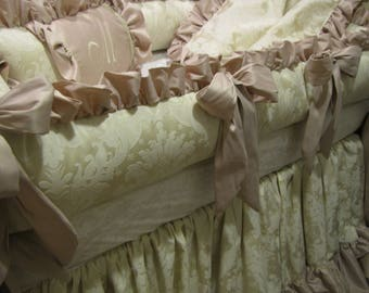 Custom Ivory Damask Crib set Unisex with Faux silk Ask about any other color for bedding
