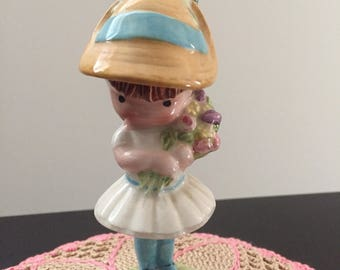 Adorable Vintage Joan Walsh Anglund Doll Figurine with flowers made in England