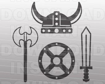 Viking SVG File,Medieval Weapons SVG,Sword svg,Battle axe svg -Personal & Commercial Use- Vector svg Cut File for Silhouette Cricut Cutter