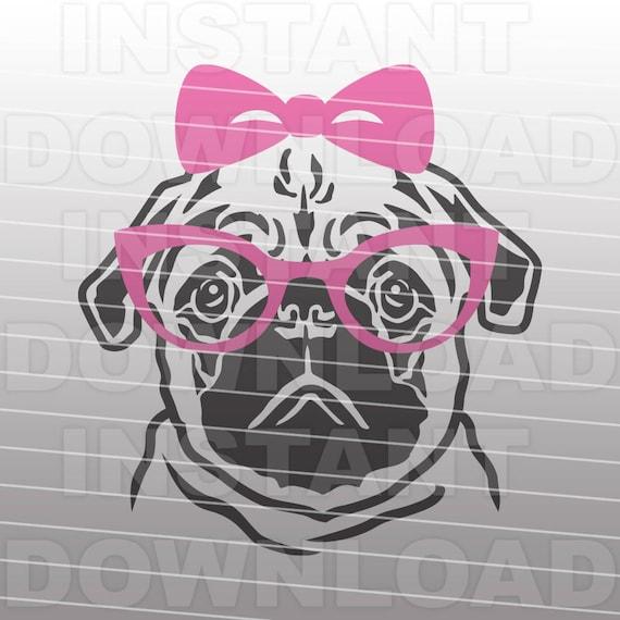 Girly Pug Svg Filegirl Pug Svg File For Commercial