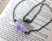 Triple Raw Amethyst Points Necklace with Lepidolite on Gunmetal Chain - Witchcraft Wicca Pagan