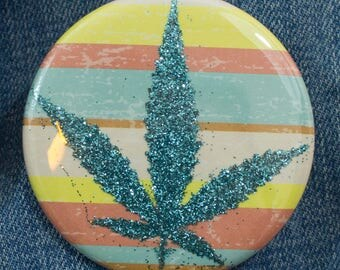 Turquoise Glitter Pressed Cannabis Leaf Button - Stripes