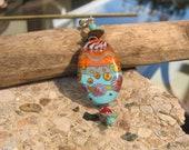Montezuma Handmade lampwork pendant -Artisan jewelry-Colorful- one of a kind- Lisa New Design
