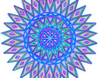 Cosmic Circle, Nova, Window cling, Sacred Symbol, No Adhesive Sticker, Persian Star, Bird Safe Window, Sun catcher, Ecofriendly