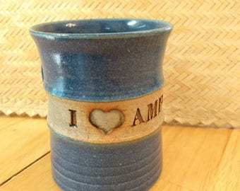 I {heart} Amber Vintage Handmade Pottery Mug