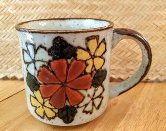 Retro Stoneware Flower Mug