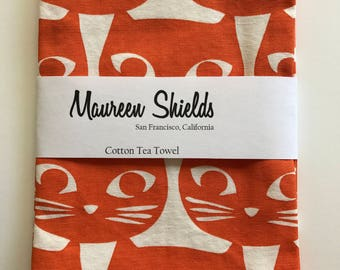 Cotton Tea Towel-Modern Graphic Orange Cat Fabric
