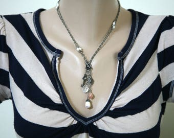 Long Or Short Convertible Gunmetal and Pearl Dangling Charms Necklace, Mother's Day,  Key Necklace, Front Closure Necklace, Black and White
