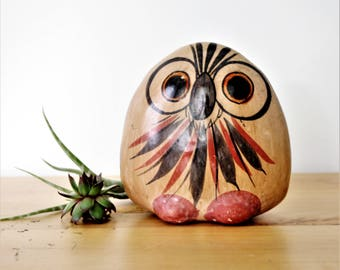 Vintage Mexican Folk Art Owl Figurine, Mexican Owl Ceramic Figurine, Woodland Animal, Tonala Owl, Mexican Folk Art Tonala Owl figurine