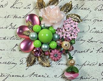 Vintage Collage Brooch pin flower garden enamel pink lime green rhinestone plastic floral upcycled Gwen