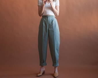 DEADSTOCK light gray high waist palmettos / cotton pleated baggy khaki pants / 27 W / 2508t / B10