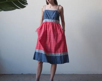 LANZ 70s print cotton sun dress / red blue floral print midi dress / s / 2271d /