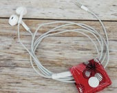 READY TO SHIP - Fabric Cable iPhone Cord Holder Earphone Earbud Holder Cable Holder Cable Cord Organizer - White Black Butterflies on Red