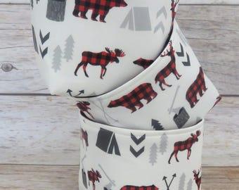 Mini Small Size Fabric Storage Container Organizer Bins - Set of 3 - Bear Moose Deer Fabric - Red Black Buffalo Checks Plaid Woodland Arrows