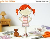 SALE Clara Paper Doll - Dress-up Doll - The Bedtime Outfits - Postcard Paper Toy