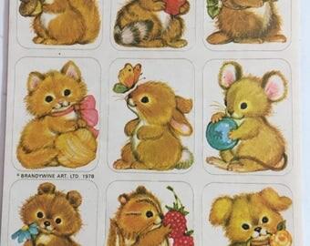 Dogs, Critters, Forest Animals, Vintage, Single Sticker Sheet, 1980's, Scrap Booking, Sticker Collecting, Hallmark, Craft ~ 161220