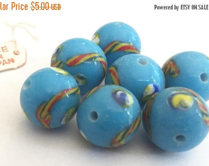 SALE 30% off Vintage large beads (6) 12mm Japanese glass lampwork turquoise blue handmade rounds 12mm (6)
