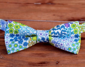 Mens wedding bow tie, floral bow tie, summer bow tie, groomsmen bow tie, gift for him, bow tie for groom, fathers day gift, dapper mens gift