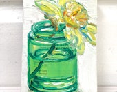 Pathway Daffodil original mixed media still life painting by Polly Jones