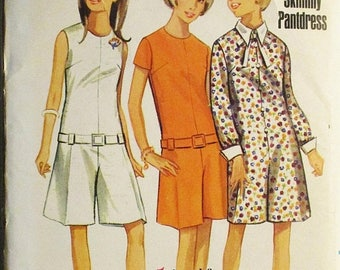 60% OFF SALE 1960s Vintage Sewing Pattern Butterick 4496 Teens One-Piece Pantdress Pattern Size 12T Bust 32