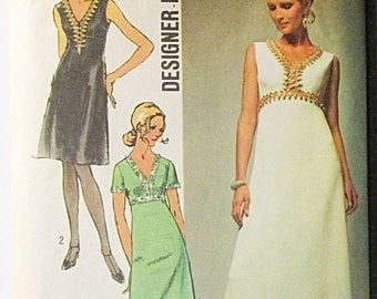 60% OFF SALE 1970s Sewing Pattern Simplicity 9064 Misses Evening Dress Pattern Designer Fashion Size 12 Bust 34