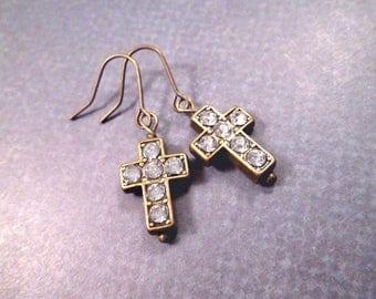 Cross Earrings, White Rhinestones and Brass Cross, Dangle Earrings, FREE Shipping U.S.