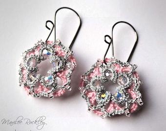 Tatting lace donut earrings pink silver metallic Swarovski crystal seed beads hypoallergenic niobium earwires