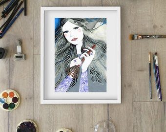 New Age Witch / DIGITAL download / Modern day with a mini broom / Printable high resolution halloween graphic
