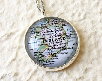 Ireland Map Necklace - Choose your map from 16 designs - Featuring Dublin, Cork, Belfast, Galway, and More