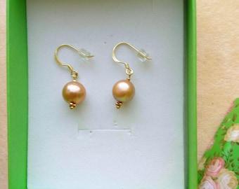 Genuine Baroque 10mm Pearl Earrings, Large Beige Pearl Earring, Gold Filled Ear Wires, Bridal, Anniversary, Wedding by enchantedbeas on Etsy