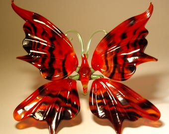 Blown Glass Figurine Art Insect Red and Black Striped BUTTERFLY